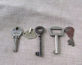 Antique skeleton keys//Rustic decor//Old skeleton key //Vintage skeleton keys//Various keys//Set of 5 keys //Collectibles
