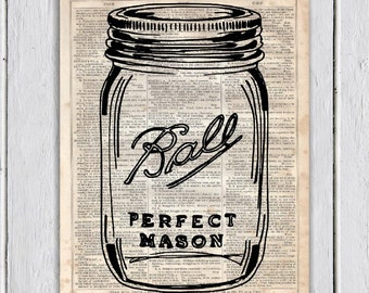 Mason Jar Kitchen Decor, Dictionary Art Print, Upcycled Book Art, Silhouette, dictionary page Wall Decor, Wall Hanging, Mixed Media Art
