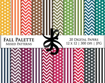 Digital Scrapbook Papers-Fall Palette Basics-Chevron-Stripes-Autumn-Thanksgiving-Fall Clipart-Backgrounds-Wallpaper-Instant Download Clipart