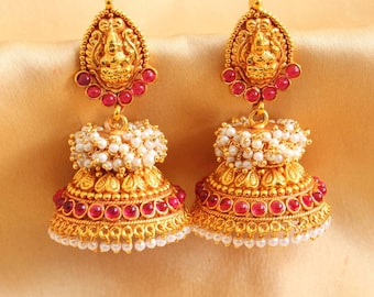 Temple Jewelry/Oxidised Gold Jhumka/Jhumki/indian jewelry/earrings/indian earrings/Kemp Jewelry