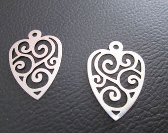 2 prints / charms heart filigree 29 x 20 mm stainless steel
