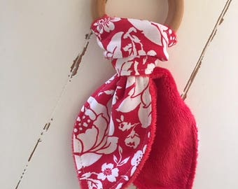 Baby teething ring made with maple hardwood organic beeswax olive oil fabric red flowers Valentines day gift CPSIA Compliant