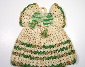 POT HOLDER DRESS, 1950's Crocheted Accessory, Vintage Kitschy, Retro Kitchen Decor