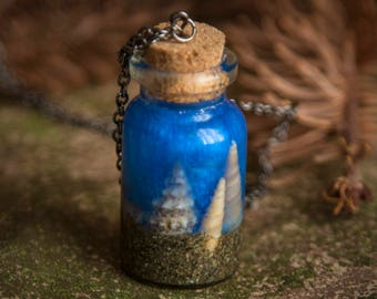 Ocean in a bottle - necklace with tiny bottle filled with shells
