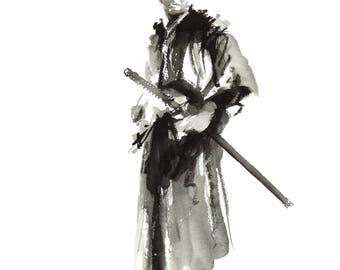 Spirit of Budo, Bushido, Samurai, Bushido Code, Japanese Painting, Samurai warrior, Katana, Watercolor painting, Ronin portrait, Mens print.