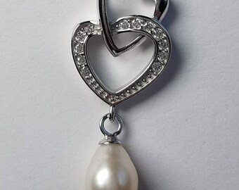 Sterling Silver Double Heart Necklace with Pearl