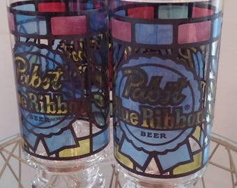 Vintage Stained Glass like Pint Glasses