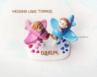 Wedding Cake Topper, Aircraft, Personalized figurines bride and groom, Aeroplane, Handmade wedding figurines, Groom pilot, Bride Stewardess