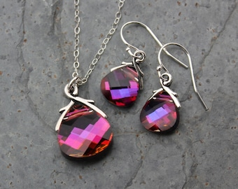 Volcano briolette sterling silver necklace & earring set, bright fuchsia pink purple color changing Swarovski crystals - free shipping USA