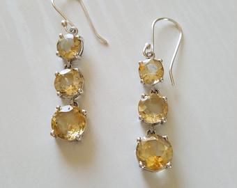 Citrine Gemstone Earrings | Genuine Gemstone Earrings | November Birthstone | 925 Sterling