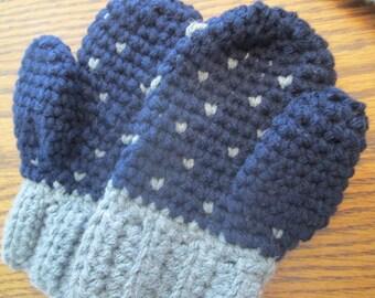 Crochet Snowfall Heart Toddler Mittens