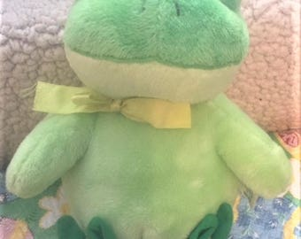Frog - Stuffed, wearing bunny slippers - recently cleaned