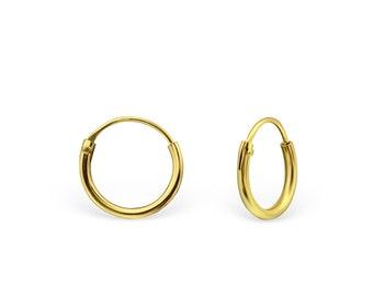 DAINTY  EAR HOOPS - 8, 10 & 12 mm Bali Earrings // 925 Sterling Silver Hoops With Gold E-Coat // Dainty Earring // Boho Earrings