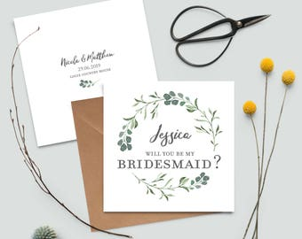 Greenery Rustic Botanical Personalised Will you be my Bridesmaid Card | Best Man | Maid of Honour | Chief Bridesmaid | Botanicals Ran