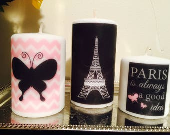 Paris candles set of 3! Paris is always good idea! Black butterfly! Black and pink candles