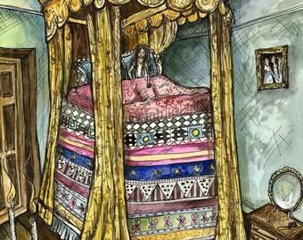 The Princess and the pea - Fairy Tale Art Print