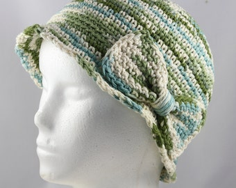 Cloche Hat in Green, Blue and Cream Ombre for Cancer Patients - Chemo Hat/Cancer Hat/Chemo Cap/Cancer Hat