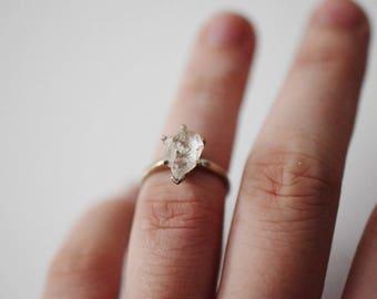 Size 6.5 14k Gold Diamond Ring, Raw Diamond Engagement Ring, Solid Gold Engagement Ring, Rough Diamond Ring, Raw Diamond Ring, Avello