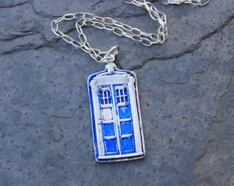 Wibbly Wobbly Police Box Necklace - Handmade fine silver pendant - Sterling silver chain - for UK fans - Free Shipping USA