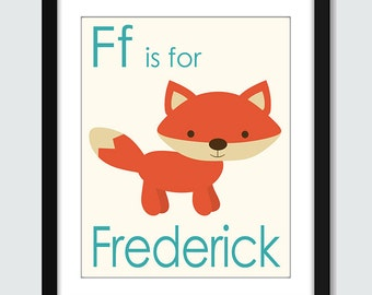 F - G - H - I - J is for Name Wall Art - 8x10 Baby Children Nursery Wall Print Poster with Personalized Name