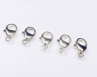 Set of 5 Medium Size 13 mm Sterling Silver Lobster Claw Clasps