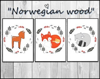 Norwegian Woods - 3 Prints  Poster