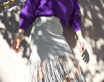 Vintage fringe leather skirt