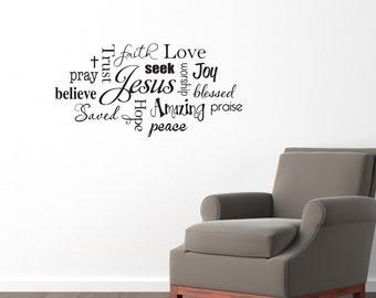 Christian Wall Decal - Jesus Subway Wall Art Sticker - Praise Believe Trust - Medium