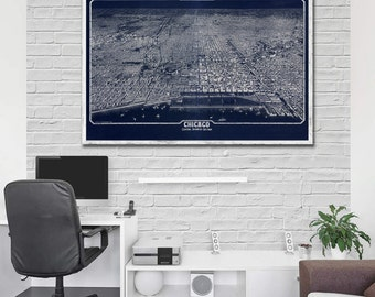 """1916 Chicago panorama, Vintage Chicago map home reprint ,  4 very large sizes up to 54"""" x36"""" and 3 color choices"""