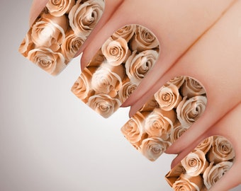 BED Of PEACH ROSES - Floral Full Cover Nail Decal Art Water Slider Transfer Tattoo Sticker