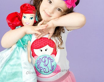 Ariel Monogram Shirt, Mermaid Princess Shirt, Princess Monogram shirt, Under The Sea Princess Girls Embroidered Applique Bodysuit or Shirt
