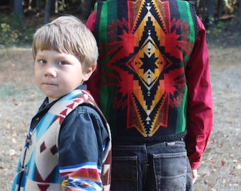 Kids sz 10 Pendleton wool Vest Soux Star So beautiful Hand made with eagle buttons