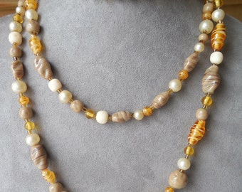 "48"" Long Single Strand Art Glass Bead Flapper Necklace    KM29"
