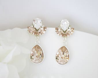 Swarovski champagne crystal teardrop earrings, Champagne and silver bridal earrings, Teardrop wedding earrings, Crystal drop earrings
