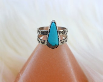 Reserved for Brittani || Apache Blue Turquoise Ring//Stamped Band//Size 7.25//Sterling and Fine Silvers//Hand Stamped