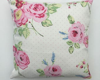 Cottage Chic Pillow Cover, cottage chic Cushion Cover, White and Pink, English Rose, Floral Pillow Sham, Various Size Options up to 24 inch