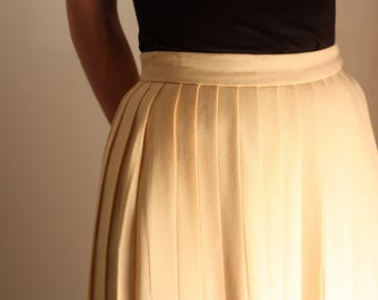 Early 80s Evan-Picone Pleated Wool Midi Skirt - S