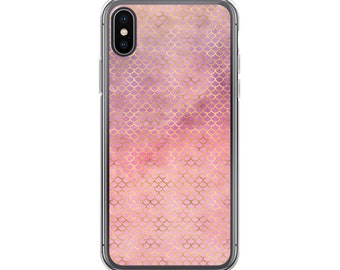 iPhone Case, Mermaid iPhone Case, Water Color Mermaid, Pink Mermaid Phone Case, Water Color Scales, Gold iPhone Case, Mermaid Scale iPhone C