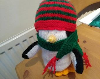 Handmade Knitted Christmas Penguin