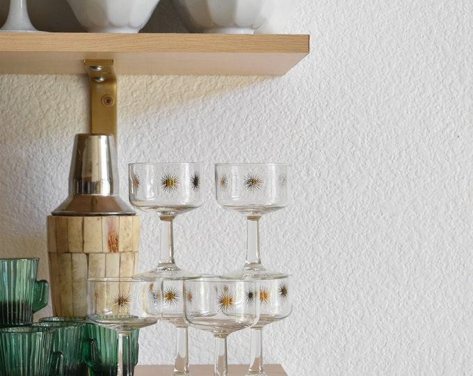 mid century set of 6 sunburst stemware champagne glasses / barware