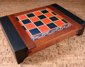 Special Sale! Unisex Mahogany Jewelry Box with Vintage Checkerboard Lid