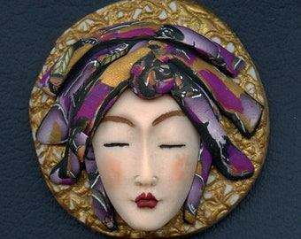 Asian Face cab with abstract Caned hat   OOAK Polymer clay Detailed  ASCR 1