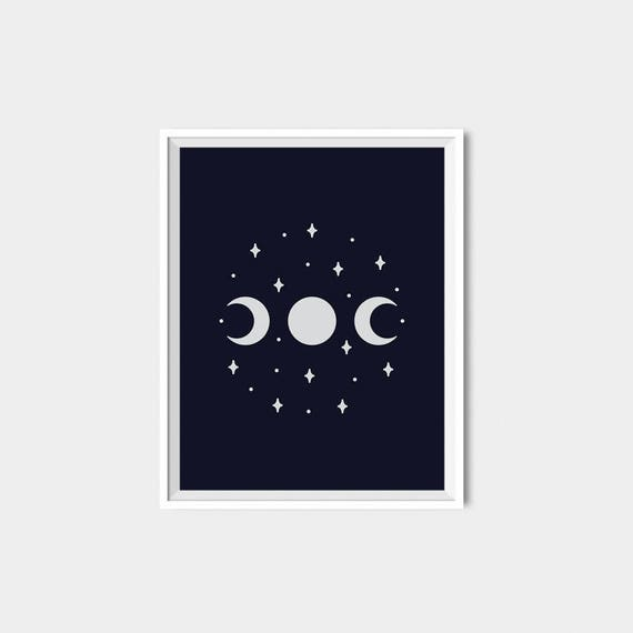 Moon Print Moon phases Wiccan Wall Art Wiccan Decor Witchy