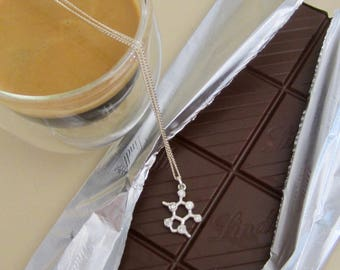 Sterling Silver Theobromine Pendant on Chain Cubic Zirconia Charm BFF Perfect Gift for Mother Sister Family Bridesmaids Chocolate Coffee