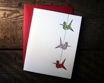 Letterpress Printed String of Cranes Card (Green-Copper-Red) - single