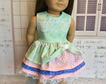 Girl doll dress, Dress fits American's Girl, Lace Dress, Layers of ruffles, Party dress, Fancy dress, Like American.Girl doll clothes