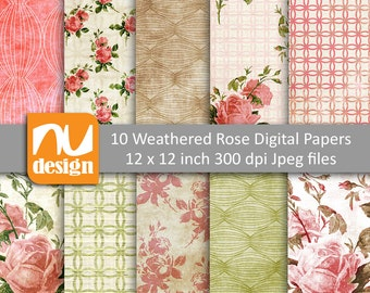 "10 Weathered Rose Digital Scrapbooking Paper Patterns - 12x12"" HiRes 300dpi files"