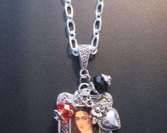 Frida Kahlo Necklace, Frida Kahlo Jewelry, Heart Necklace, Heart Jewelry, Day of Dead Necklace, Day of Dead Jewelry