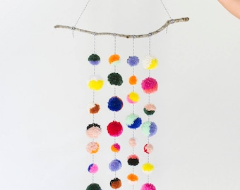 Colorful Large Branch Pom Pom Mobile / Wall Hanging in Multicolor