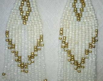 White and Gold Chandelier earrings